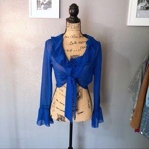 Tops - Royal blue tie front crop top